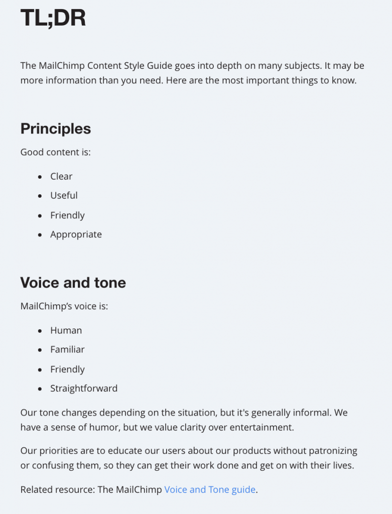 A brief part of the MailChimp Content Sty
